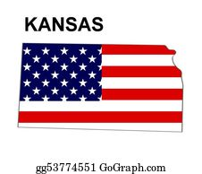 Map-Of-Kansas-Usa - Usa State Of Kansas In Stars And Stripes Design