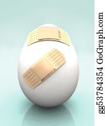 Health-Care - Cracked Egg With Band-Aids.