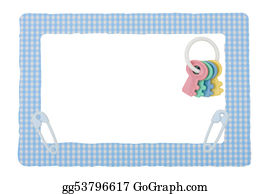 Safety-Pins-And-Diaper - Baby Blue Check Border