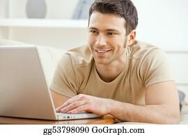 Telecommuting - Man Using Laptop At Home