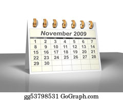 Weekday - November 2009 Desktop Calendar (3d).