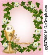 Christ-Is-Risen - First Holy Communion Invitation Border