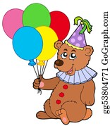 Bear-Paw - Clown Bear With Balloons