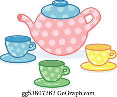 Tea-Pot - Cute Classic Style Tea Pot And Cups Illustration