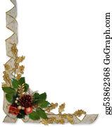 Christmas-Gold - Christmas Holly And Ribbons Border