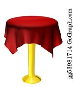 Basement - Empty Table With Red Tablecloth