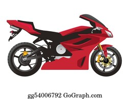 Street-Race - Red Sport Motorcycle