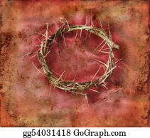 Crown-Of-Thorns - Crown Of Thorns On Red Grunge Background