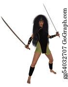 Aunt - Woman Holding Swords