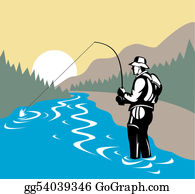 River - Fisherman In River With Fly Rod Side View