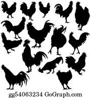 Poultry - Rooster Silhouettes
