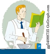 Utensils - Man Cooking While Reading