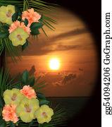 Orange-Border - Tropical Hibiscus Flowers Sunset