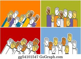 Multi-Ethnic-Group - Voting Group Of People - Symbolic Human's Hands