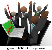 Multi-Ethnic-Group - Business Team Cheers Growth Arrow Laptop