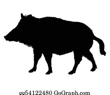 Boar - The Black Silhouette Of A Boar On White