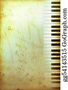 Music-Notes-On-Piano-Keyboard - Old Piano Paper