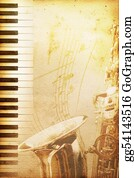 Music-Notes-On-Piano-Keyboard - Old Jazz Paper