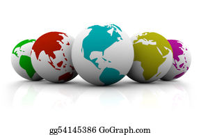 Six-Spheres-Balls-Illustration-With - Line-Up Of Colorful Planet Earths