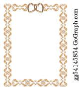 Valentine-Border-Hearts-Frame - Wedding Invitation Border Gold Hearts