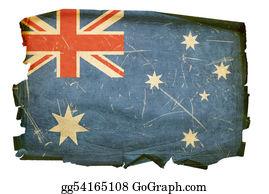 Australia - Australia Flag Old, Isolated On White Background.