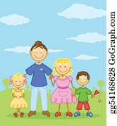 Illustration-With-Happy-Family - Happy Family Stick Figure Style Illustration