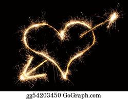 Flaming-Heart - Heart And Arrow Sparkler