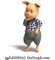Boar - Cute Cartoon Pig With Clothes