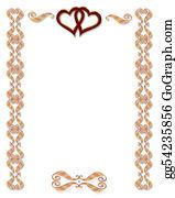 Valentine-Border-Hearts-Frame - Wedding Invitation Border Gold