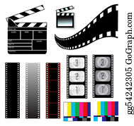 Movie-Production - Movie Clapper Board And Filmstrip