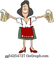 Beer - Beer Maiden Holding 2 Mugs
