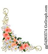 Orange-Border - Tropical Flowers Corner Design