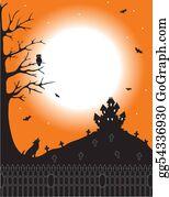 Headstone - Halloween Scene