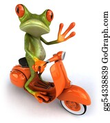 Tropical-Rainforest - Fun Frog On A Scooter