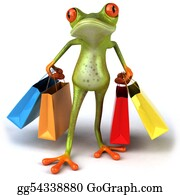 Tropical-Rainforest - Fun Frog With Shopping Bags