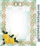 Valentine-Border-Hearts-Frame - Wedding Invitation Yellow Roses Gold Border