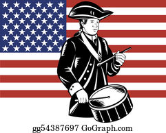 Armed-Forces - American Patriot Drummer With Flag
