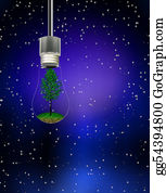 Recycle-Technology - Tree In Hanging Bulb
