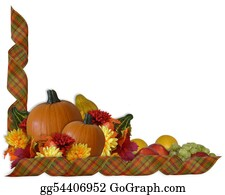 Fall-Harvest-Background - Thanksgiving Autumn Fall Ribbons Border