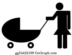 Babies-And-Toddlers-Silhouettes - Mother Pushing Baby Buggy Or Stroller - Illustration