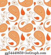 Paisley-Art - Orange Paisley Pattern