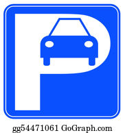 Car-Lot - Blue And White Car Parking Sign - Illustration