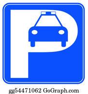 Car-Lot - Blue And White Police Car Parking Sign - Illustration