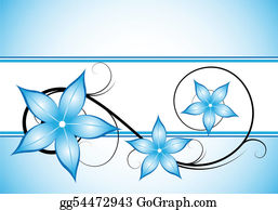 Vintage-Floral-Blue-Frame-Vector - Winter Blue Floral Design