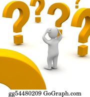 Confused - Confused Man And Question Marks. 3d Rendered Illustration.