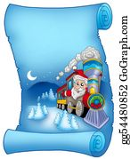 Blue-Bell - Blue Parchment With Santa In Train