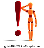Butler - An Orange Red Manikin Standing Behind An Exclamation Mark