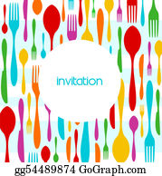 Lunch - Cutlery Colorful Pattern Invitation
