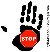 Hand-Sign - Stop Sign Inside The Palm Print Of A Hand