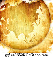Map-Of-India - Aged Asia Map-Grunge Artwork
